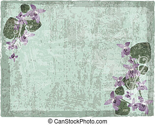 floral, grunge, achtergrond