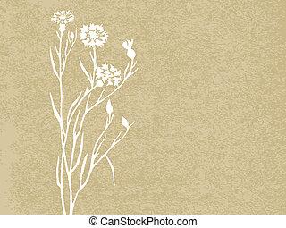 floral, grunge, achtergrond., vector