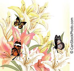 floral, grunge, arrière-plan beige