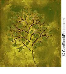 floral, grunge, bachkground, árvore