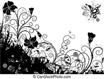 Floral grunge background, vector