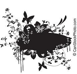 floral, grunge, bannière, élément