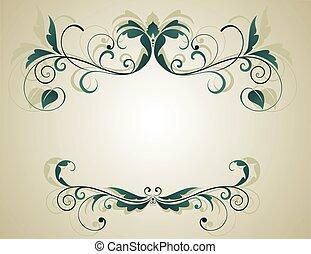 floral, grunge, bannière