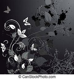 floral, grunge, borboletas, desenho