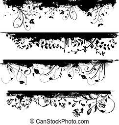 floral grunge design elements - Floral grunge design...
