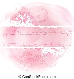Floral grunge design on watercolor background