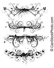 floral, grunge, elementos, diseño