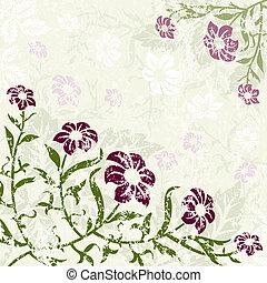 floral, grunge, fond