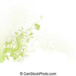 floral, grunge, fundo
