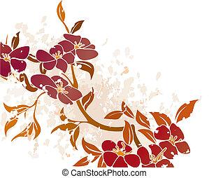 floral, grunge, fundo, vetorial