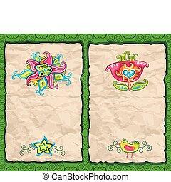 floral, grunge, papier, achtergronden