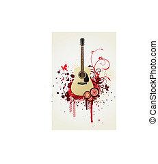 Floral guitar vector