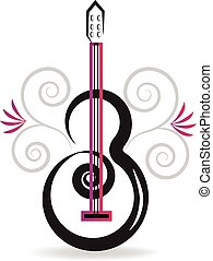 floral, guitare, musique, logo