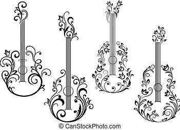 floral, guitarra acústica, iconos