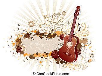 floral, guitarra, experiência vermelha
