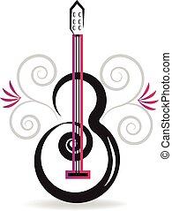 floral, guitarra, música, logotipo