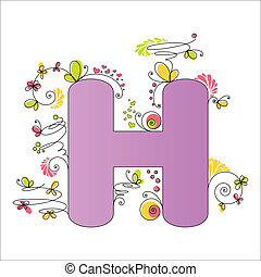 floral, h, alphabet., coloré, lettre