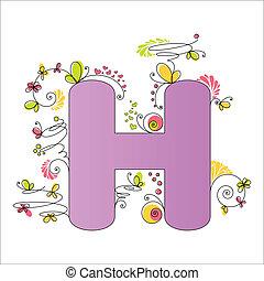floral, h, alphabet., coloridos, letra