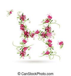 floral, h, desenho, seu, letra