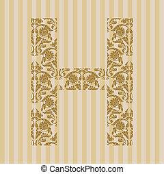 floral, h, font., lettre