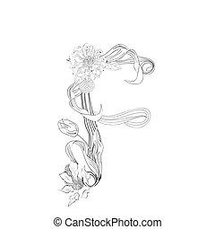 floral, h, fonte, letra