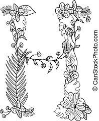 floral, h, ornement, lettre