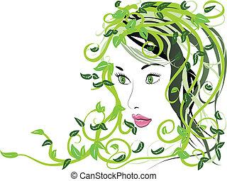 floral, haar, meisje