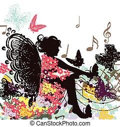 floral, hada, música, mariposas