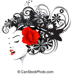 floral, hairstyle