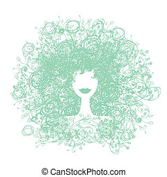 Floral hairstyle, woman silhouette for your design