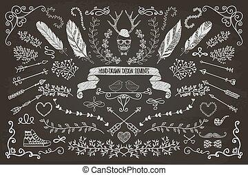 floral, hand-drawn, elementos, desenho