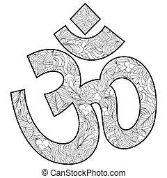 Floral hand drawn om symbol