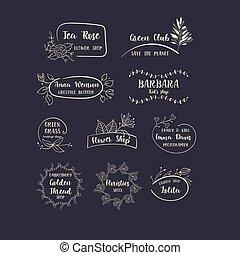 floral, handdrawn, ensemble, logos., vecteur