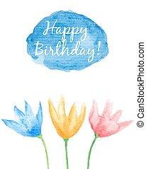 Floral Happy Birthday card.