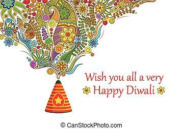 Floral Happy Diwali - vector illustration of floral design...