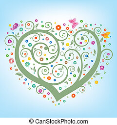 floral, hart