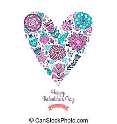 floral, hart, flowers., gemaakt, heart.