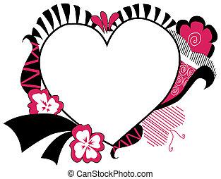 floral, hart, frame