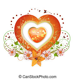 floral, hart, frame, vorm