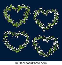 floral, hart, lijstjes, met, witte bloemen