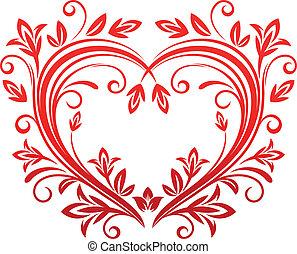 floral, hart, stijl, valentijn