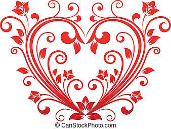 floral, hart, valentijn