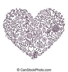 floral, hart, witte achtergrond