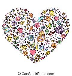 floral, hart, witte , achtergrond.