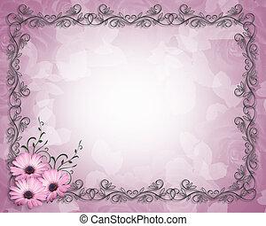 floral határ, bíbor, százszorszép, sablon