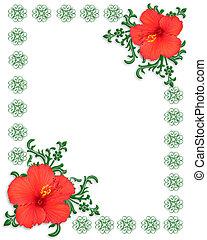 floral határ, sablon, hibiszkusz