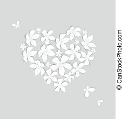 Floral Heart - Heart decorated with white flowers, vector...