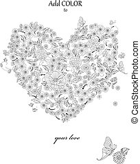floral heart for your coloring book. happy valentines day