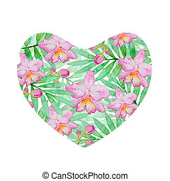 Floral heart of pink watercolor orchids