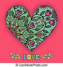 Floral Heart On A Pink Background.